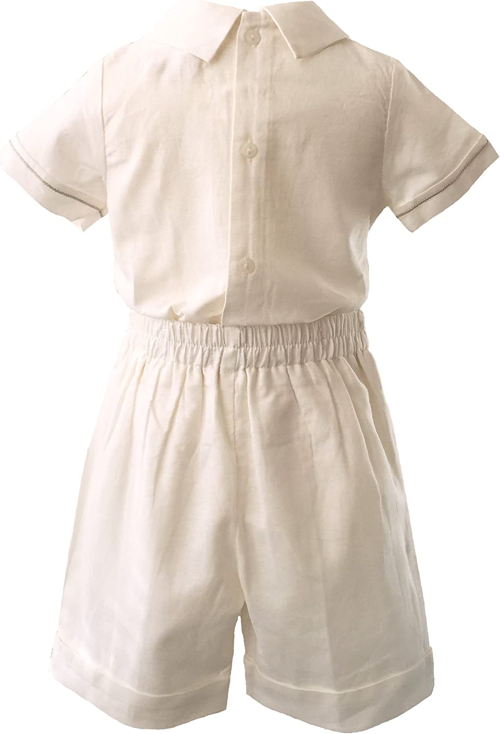 Boys 100/% Linen 3 Piece Set Boys Shorts top and hat Linen Christening Set Ages 0-3 Months to 18-24 Mont