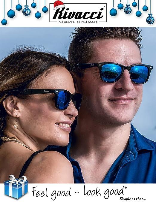 Rivacci Gafas de Sol Polarizadas Hombre Mujer - Marca Retro/Vintage - Lentes Deportivas Espejadas - Negras/Espejo Azul Polarizado: Amazon.es: Deportes y ...