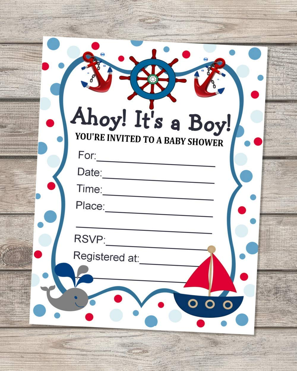 Nautical Baby Shower Invitations, Fill In Blank Invitations, Flat Cards Set  Of 3, Sailboat And Baby Whale Nautical Baby Shower Invites With