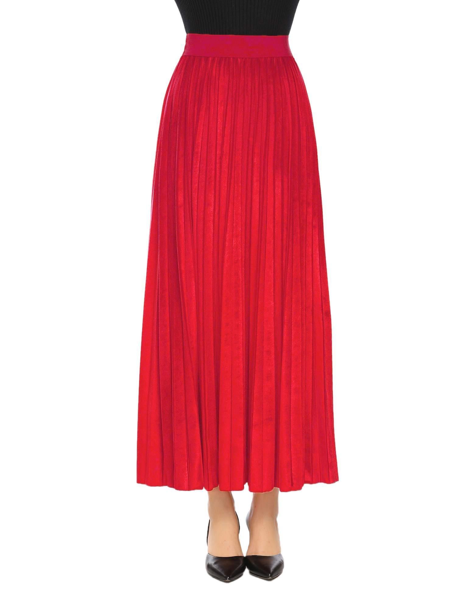 Misakia Women Full/ankle Length Elastic Pleated Retro Maxi Velvet Long Skirt