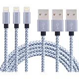 CBoner iPhone Cable,3Pack 6FT Nylon Braided Cord Lightning Cable Certified to USB Charging Charger for iPad,iPod Nano 7,iPhone 7/7 Plus,6/6 Plus/6S/6S Plus,SE/5S/5, (Gray White,6FT)
