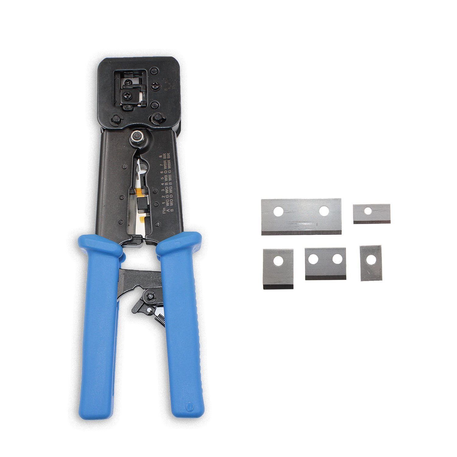 Bonus 5 Pack Blade Replacement Combo Pack of RJ45 Professional Heavy Duty Crimp Tool Ethernet Connector Crimper Cutter HD Crimping Stripper Stripping Blades for EZ End Pass Through Legacy Connectors
