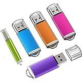 KEXIN 5-Pack USB Stick Flash-Laufwerk Memory Sticks mit Kappe für Laptop (5 gemischte Farben: Blau, Lila, Hot-Pink,Grün, Orange) (16GB*5PCS)