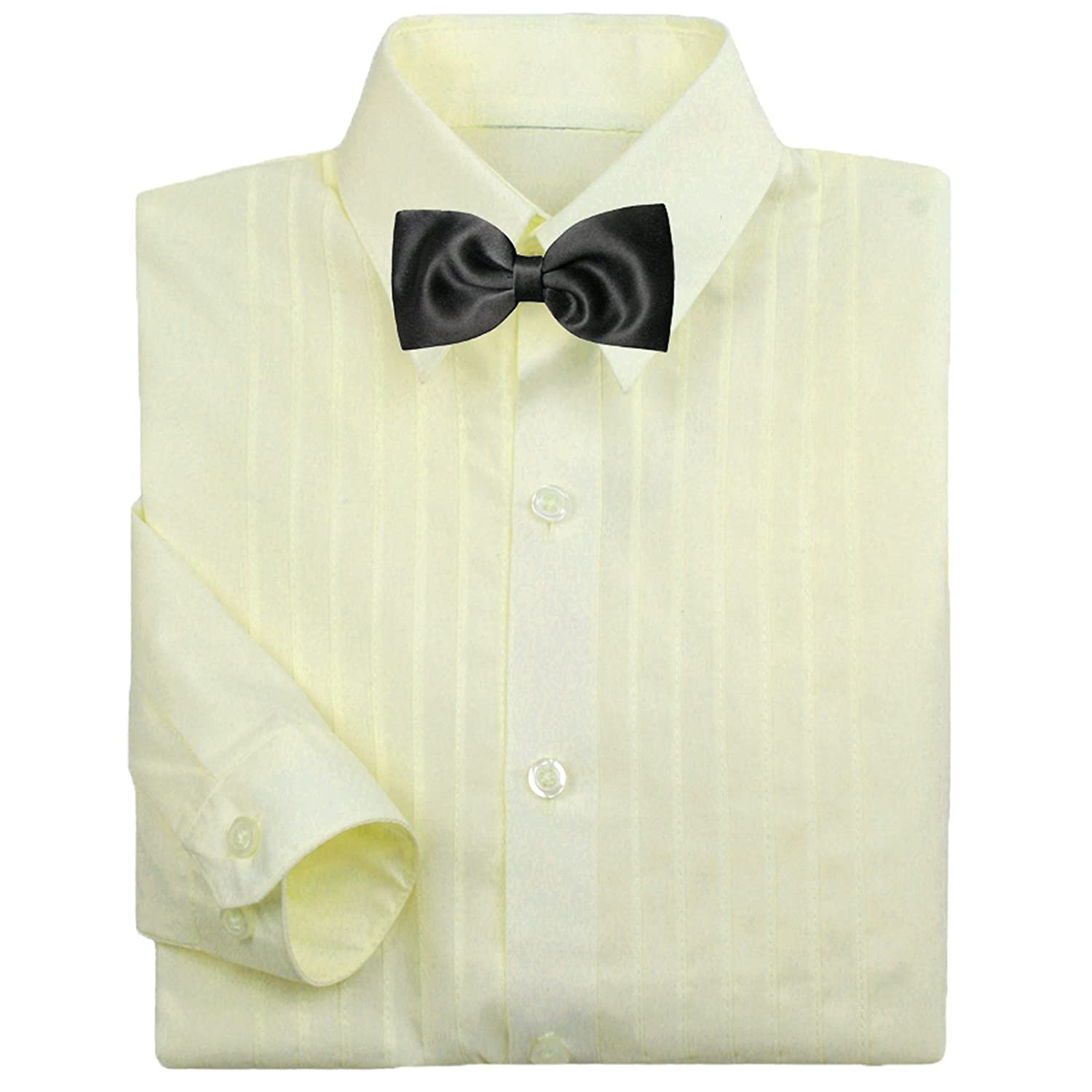 Baby Boy Kid Formal Tuxedo Suit Ivory Dress Shirt Color w/ Black Bow tie 0-7