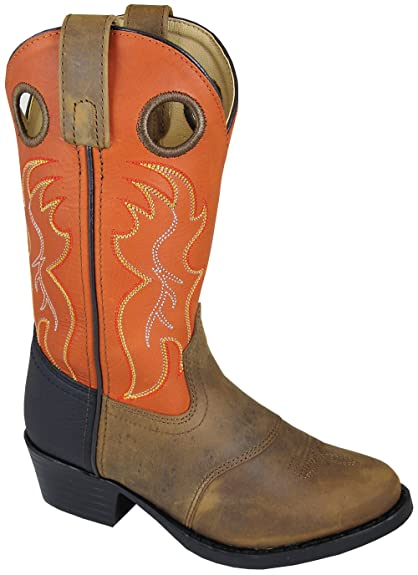Smoky Childrens Kids Monterey Dark Brown and Red Western Cowboy Boot