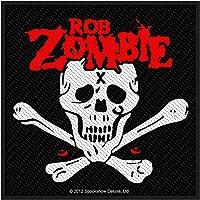 Parche de Rob Zombie, calavera y huesos, bordado y con licencia oficial
