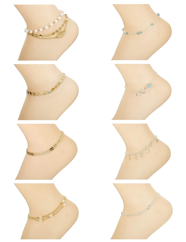LOYALLOOK 8-12Pcs Beach Anklets Bracelets Foot Jewelry Alloy Chain Set Adjustable for Women DGB0003