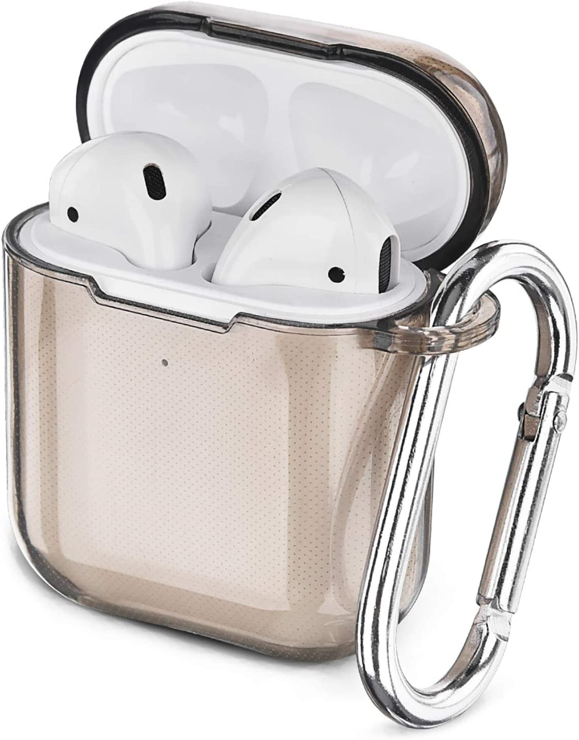 AIRSPO Airpods Case Cover, Clear Soft TPU Protective Cover Compatible with Apple AirPods 1/2 Wireless Charging Case with Keychain (Clear Black)