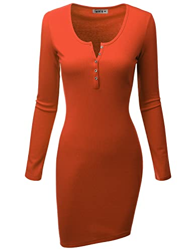 Doublju Womens Long Sleeve Cotton Ribbed Knit Bodycon Henley Dress