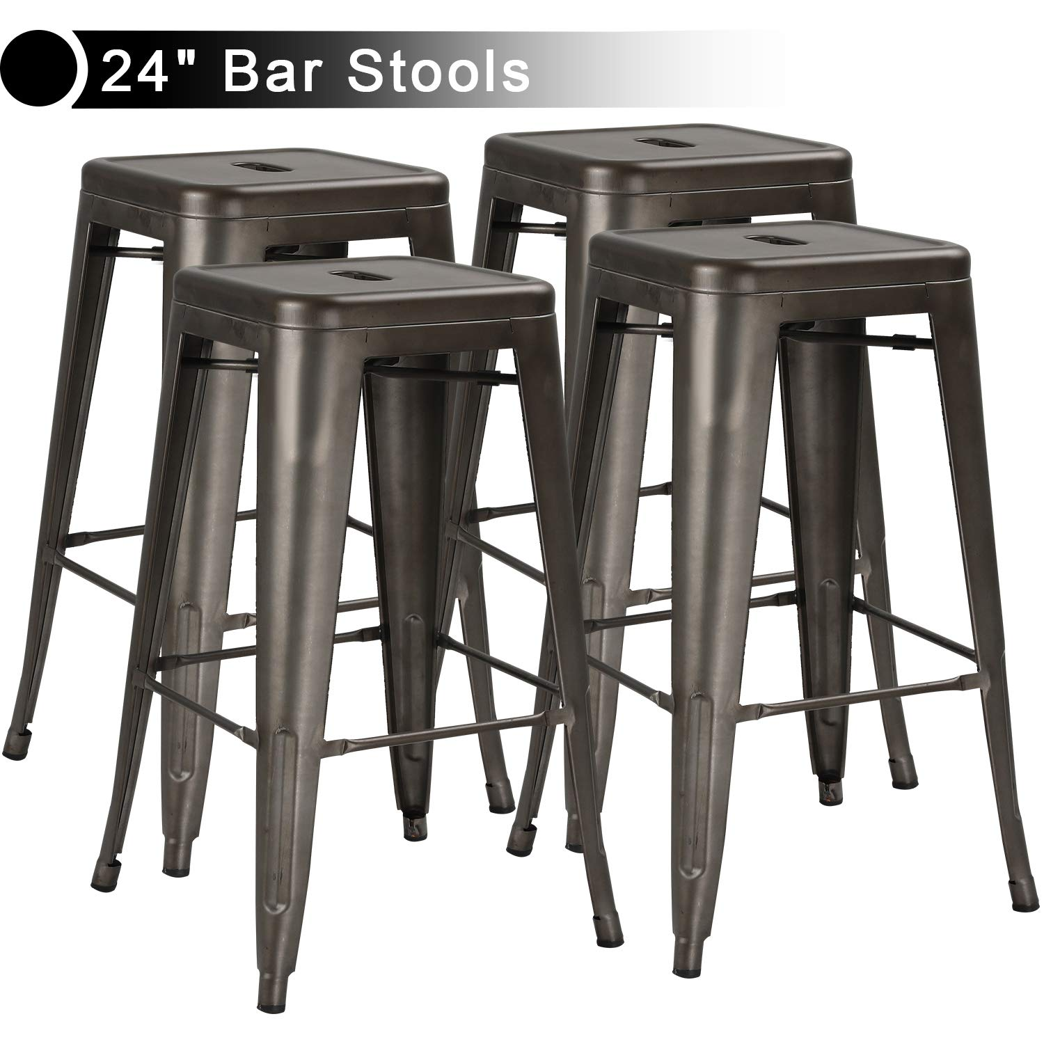 Metal Indoor-Outdoor Stools Distressed Style Kitchen Dining Stool Stackable Side Stools(24in Gun Stool)