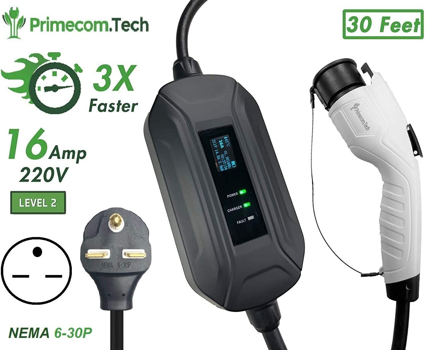 220V // 240Volt, 16Amp 30 EV Portable EVSE Smart Electric Car Charger PRIMECOM Level 2 Electric Vehicle and 50 Feet Lengths Charger 14-50P, 40 Feet 40