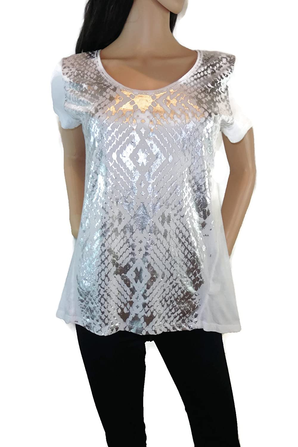 DKNY Jeans Womens Short Sleeve Scoop Neck Glitter Detailing 100% Cotton Tee White Silver