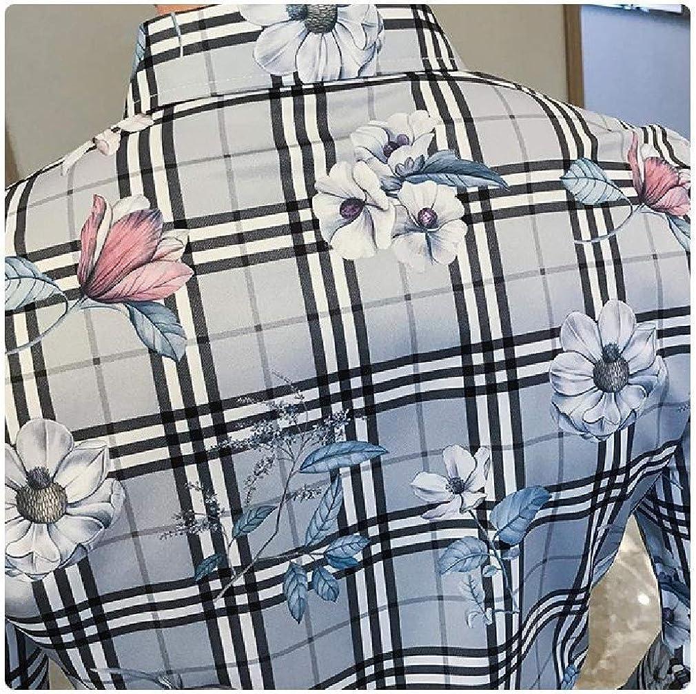 Tralounry Mens Nightclub Plaid Pattern Printed Long Sleeve Slim Fit Work Shirt