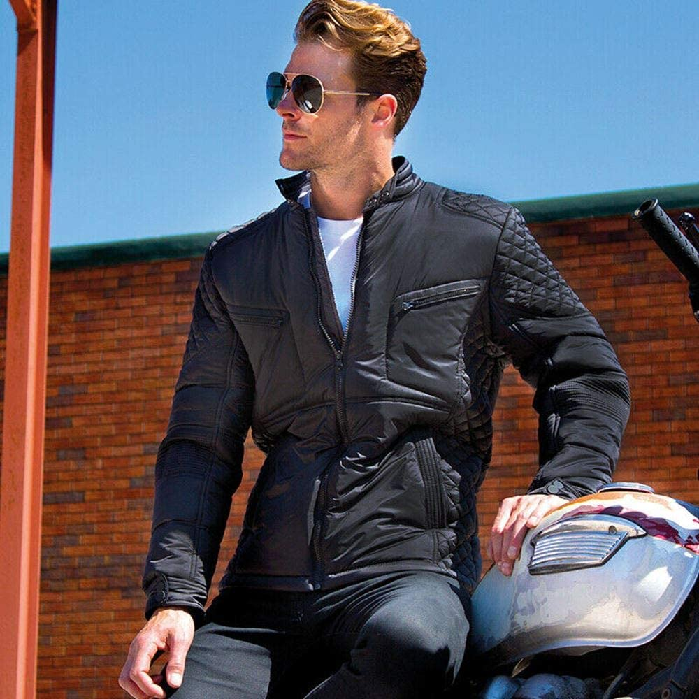 Gaffer Mens Biker Jackets Motorbike Slim Fit Casual Wear Quilted Winter Soft Padded Motorcycle Top Stylish Nylon Polyester Showerproof Windproof Coat Zip Up Black X-Small
