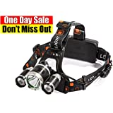 Bright LED Headlamp & Waterproof IMPROVED Zoomable Hard Hat light Headlight Flashlight 6000 Lumens & Rechargeable Batteries for Reading Outdoor Xtreme Running Walking Hunting – 100% guaranty + Gift!