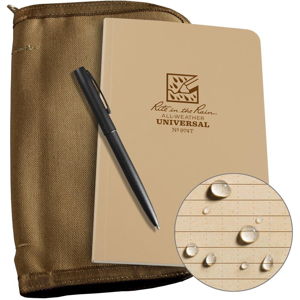Rite in the Rain Weatherproof Bound Book Kit: Tan CORDURA Fabric, 4 5/8'' x 7 1/4'' Tan Notebook, and Weatherproof Pen (No. 974T-KIT)
