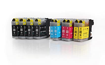 10x Compatible XL tinta cartuchos reemplazo for BROTHER LC-123 BK ...