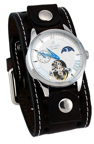 Nemesis BBSTH511S - Reloj automático de Pulsera para Hombre, Correa de Piel, diseño de corazón Abierto: Amazon.es: Relojes