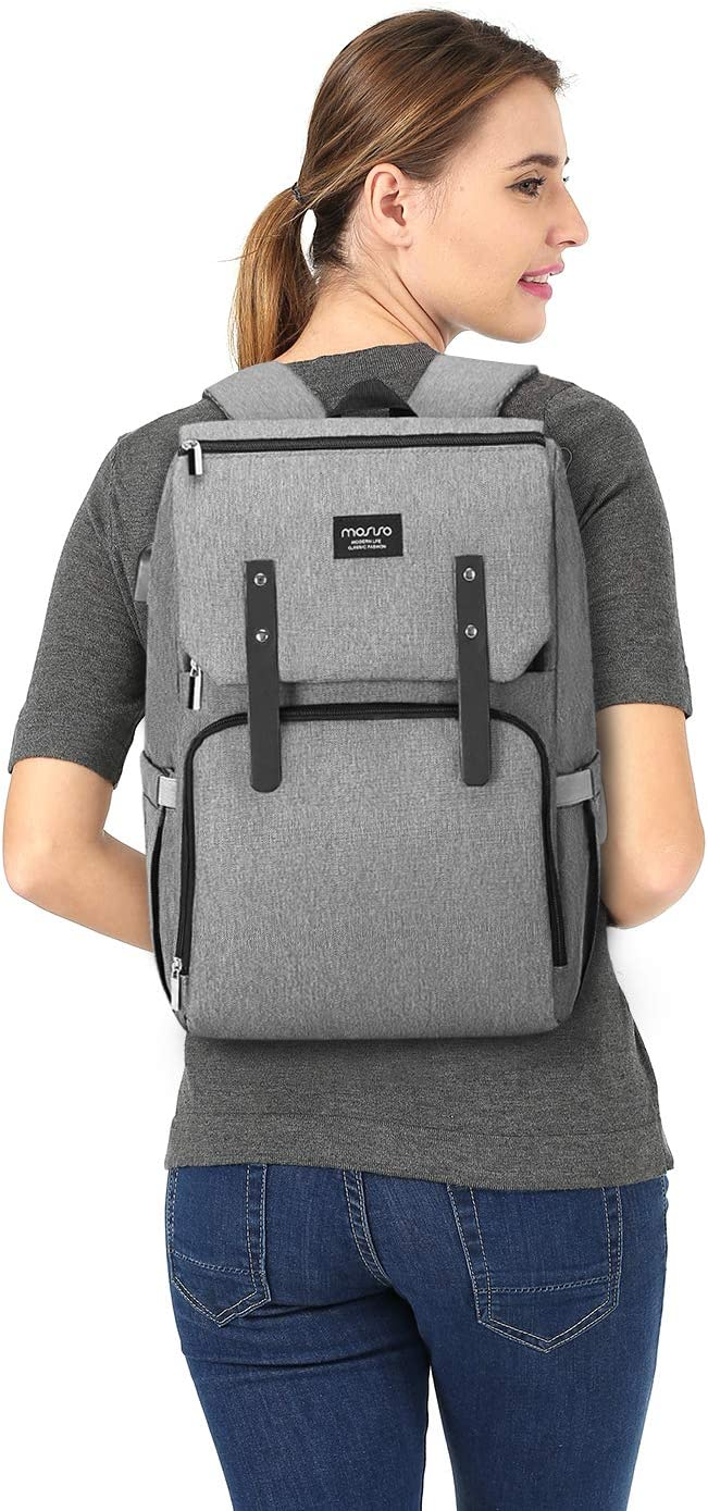 Multifunction Flap Over Travel Back Pack with Stroller Straps//USB Charging Port Large Capacity Lightweight Stylish Nappy Maternity Nursing Baby Changing Bags Gray MOSISO Diaper Bag Backpack