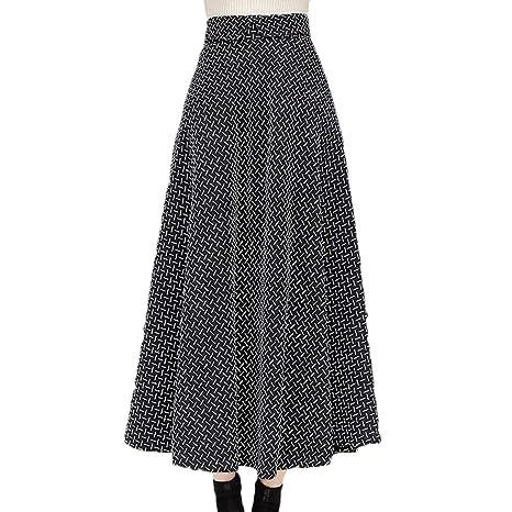 Yujingc Falda Larga a Cuadros Vintage Falda de Lana de Cintura ...