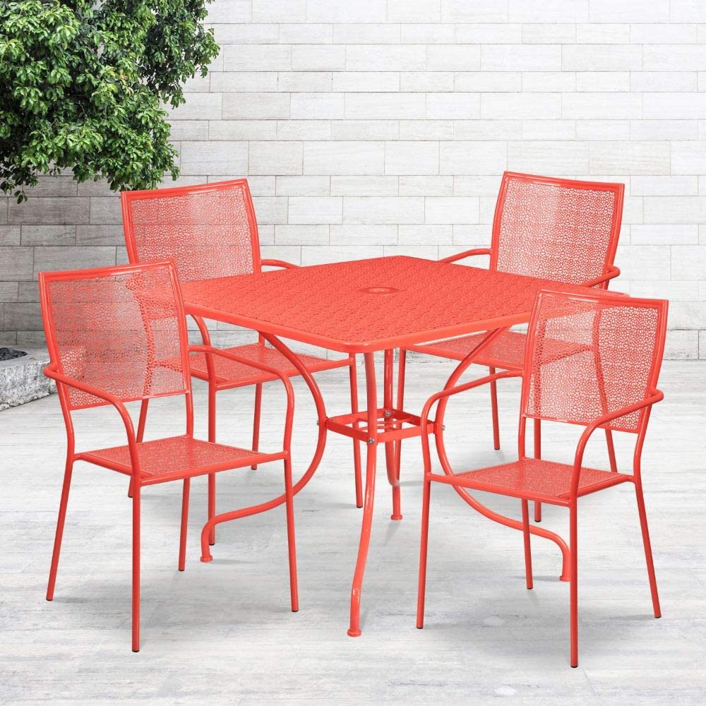 "Flash Furniture Commercial Grade 35.5"" Square Coral Indoor-Outdoor Steel Patio Table Set with 4 Square Back Chairs"