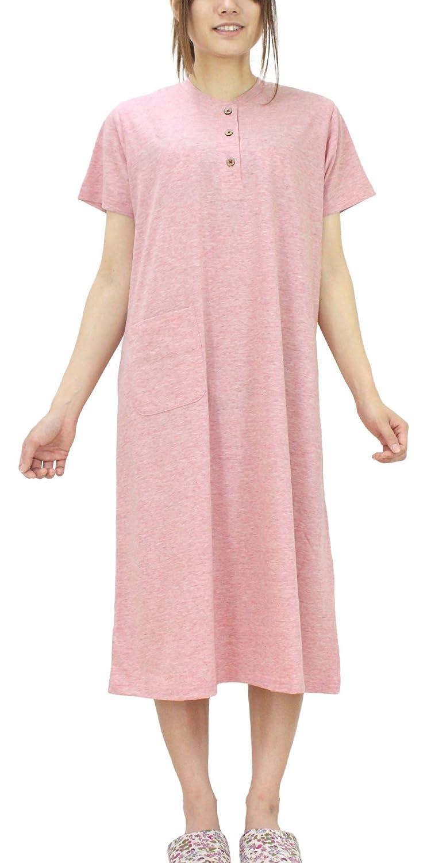 (パジャマ工房) ネグリジェ レディース ワンピース 半袖 かぶり 綿100% 天竺ニット[0704] B01JIB8SKK フリー|ネイビー ネイビー フリー