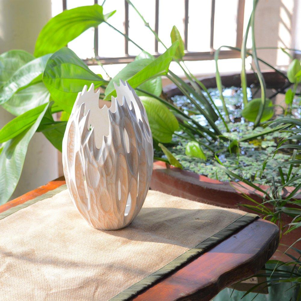 Roro Minimalist Handcarved Wood Vase with Upward Grooves (Whitewash) by roro (Image #2)