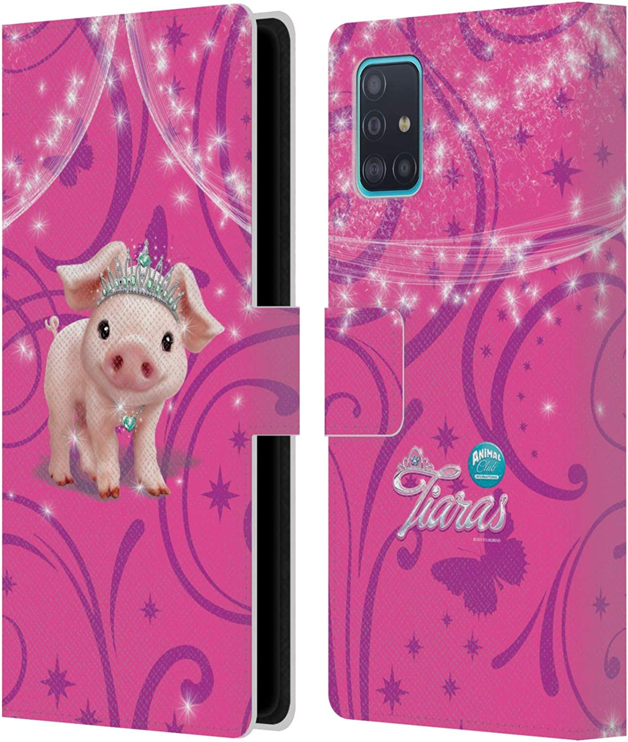 Official Animal Club International Pig Pet Royalties Leather Book Wallet Case Cover Compatible For Samsung Galaxy A51 2019