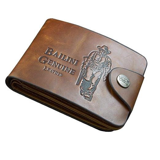 Fantiff - Cartera de piel clásica para hombre con bolsillos para tarjetas de crédito/DNI