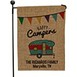 """GiftsForYouNow Personalized Happy Camper Burlap Garden Flag with Two-Sided Design, 18"""" H x 12.5"""" W - 100% Polyester All…"""