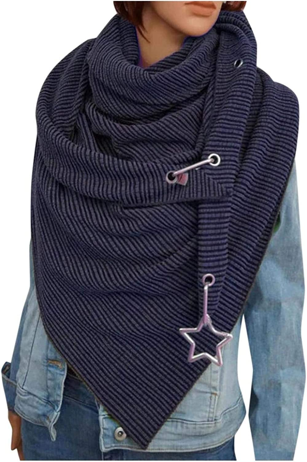 BBQQ Scarf Women Solid Color ButtonTriangle Scarf Casual Autumn Winter Scarf Stripes Neckerchiefs Soft Scarf