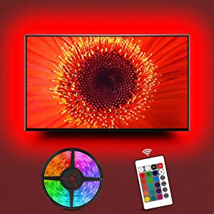 TV LED Backlight,Hiromeco 8.2Ft TV USB Bias Lighting for 32 to 60inch TV with IR Remote, 20 Colors Changing TV Background Lights Ambient Mood Lighting for Monitor, Home, Gaming Room