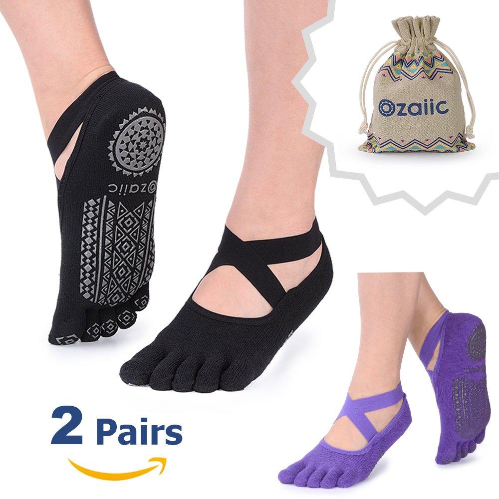 Yoga Socks for Women with Grips, Non-Slip Five Toe Socks for Pilates, Barre, Ballet, Dance, Workout, Fitness