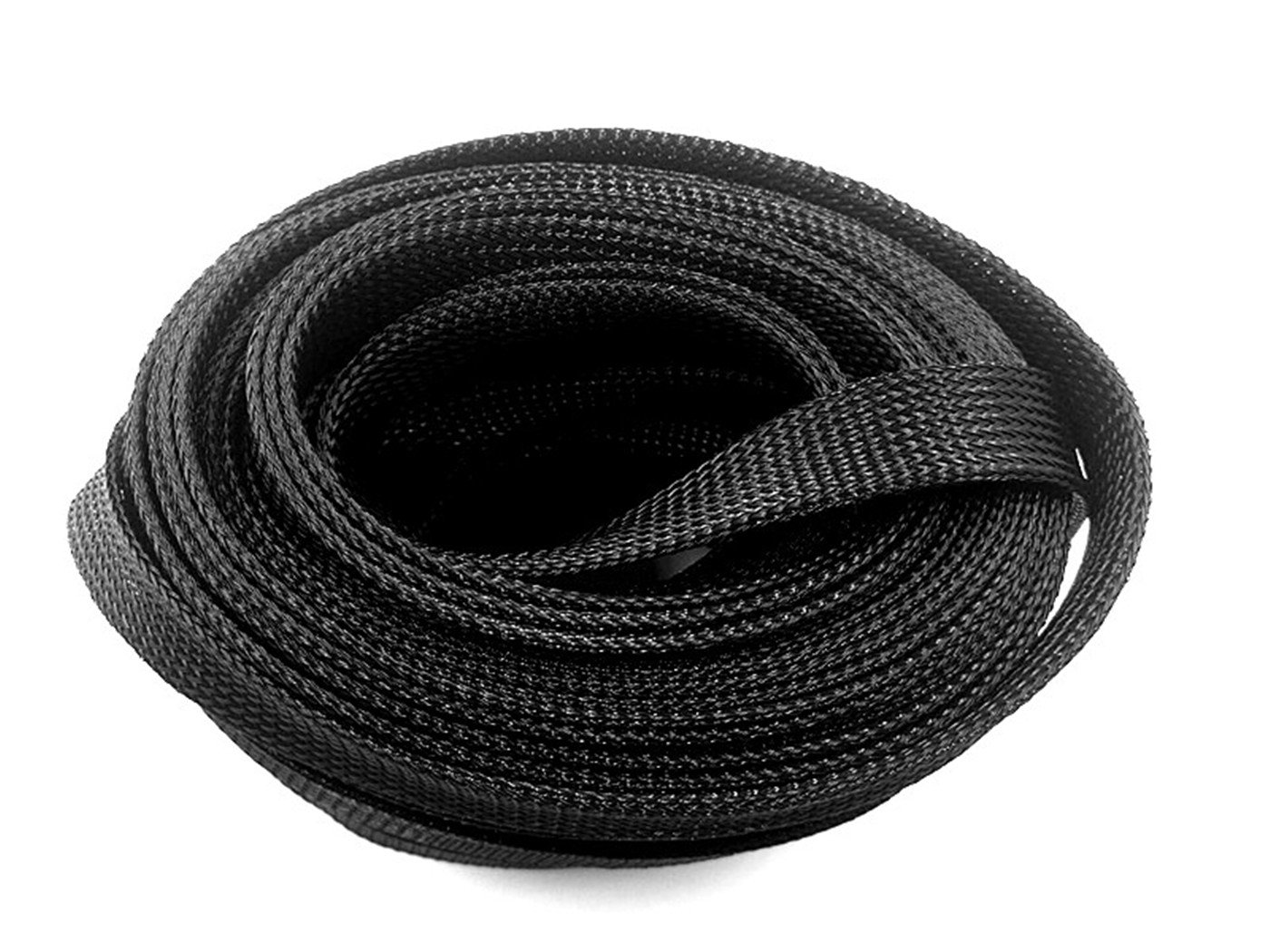 Wang-Data 50ft-1 1/2'' PET Expandable Braided Sleeving –Black –cable management sleeve cord organizer for wrap & protect cables