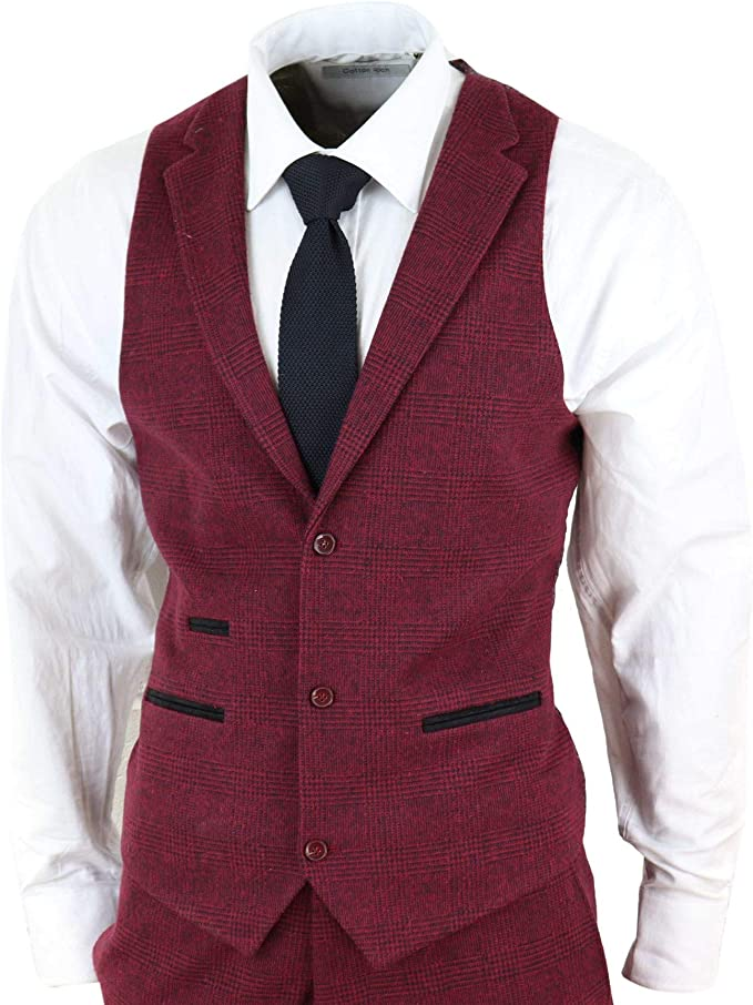 Mens Cavani Designer Scoop Waistcoat Tweed Smart Suit Formal Casual New