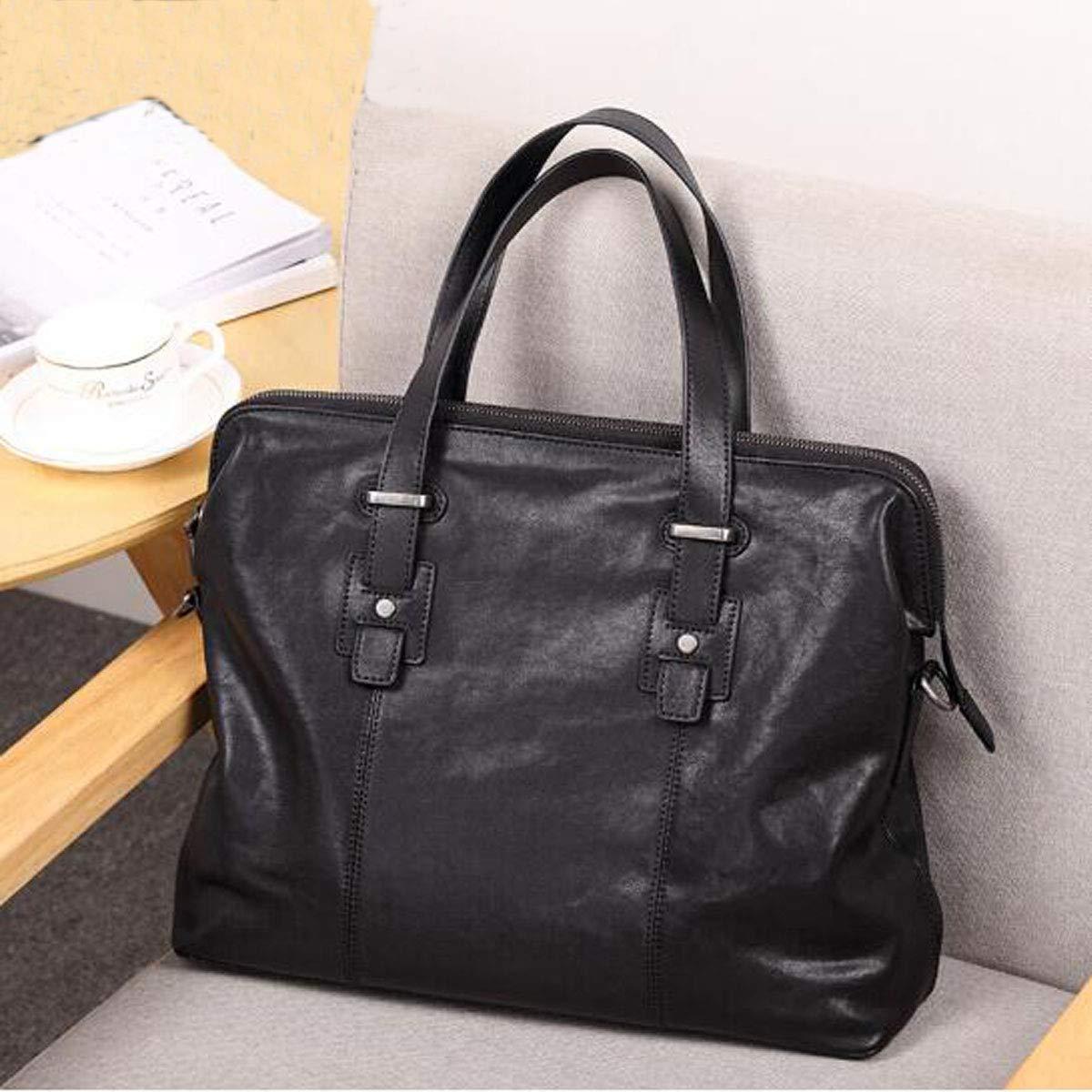 Large-Capacity First Layer Leather Mens Bag One-Shoulder Diagonal Bag 8haowenju Mens Leather Tote Color : Black Black 381231cm