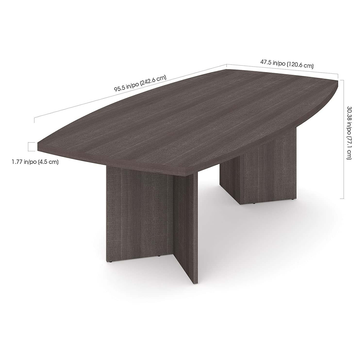 Amazoncom BoatShaped Conference Table In Bark Gray Office Products - Grey conference table