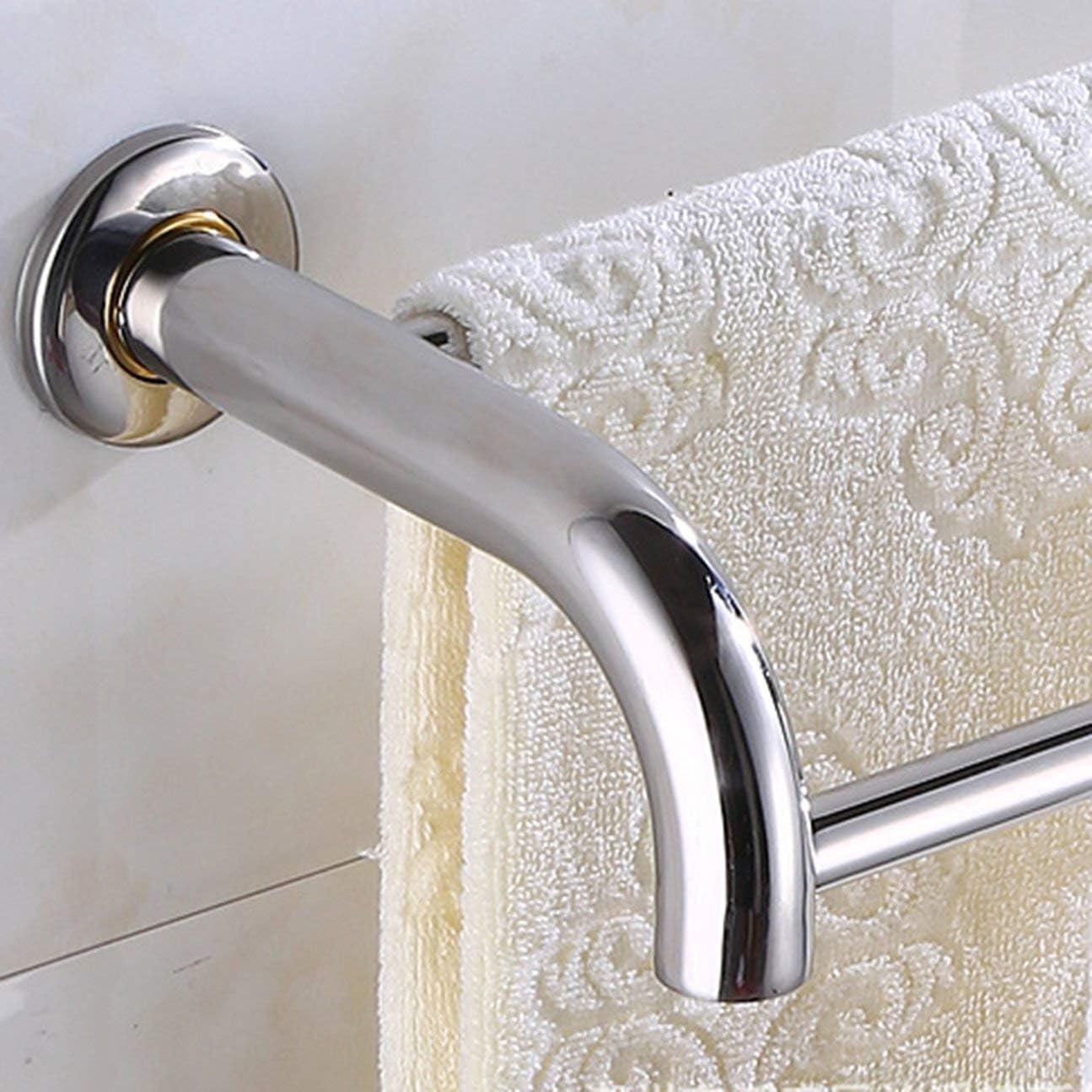 Porte-serviettes en acier inoxydable anti-rouille de salle de bains porte-serviette /étag/ère fix/é au mur gain de place double tige m/énage barre de suspension argent 50cm