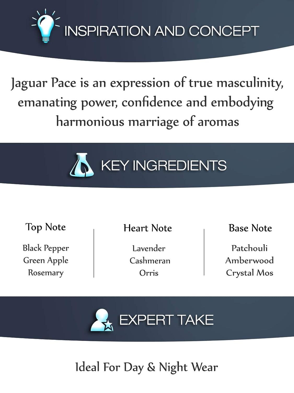 Jaguar Pace eau de toilette Hombres 100 ml - Eau de toilette (Hombres, 100 ml, Manzana, Pimienta negra, Romero, Orris, Madera de cachemira, Lavanda, Ámbar, ...