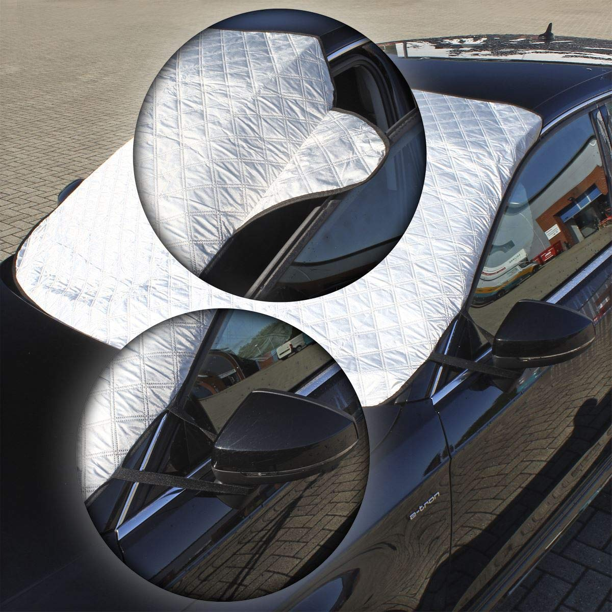 CampTeck U6911 145 x 119 cm Frontscheibenabdeckung Auto Frostschutz Autoscheibenabdeckung Sonnenschutz windschutzscheibe universelle Passform - Silber