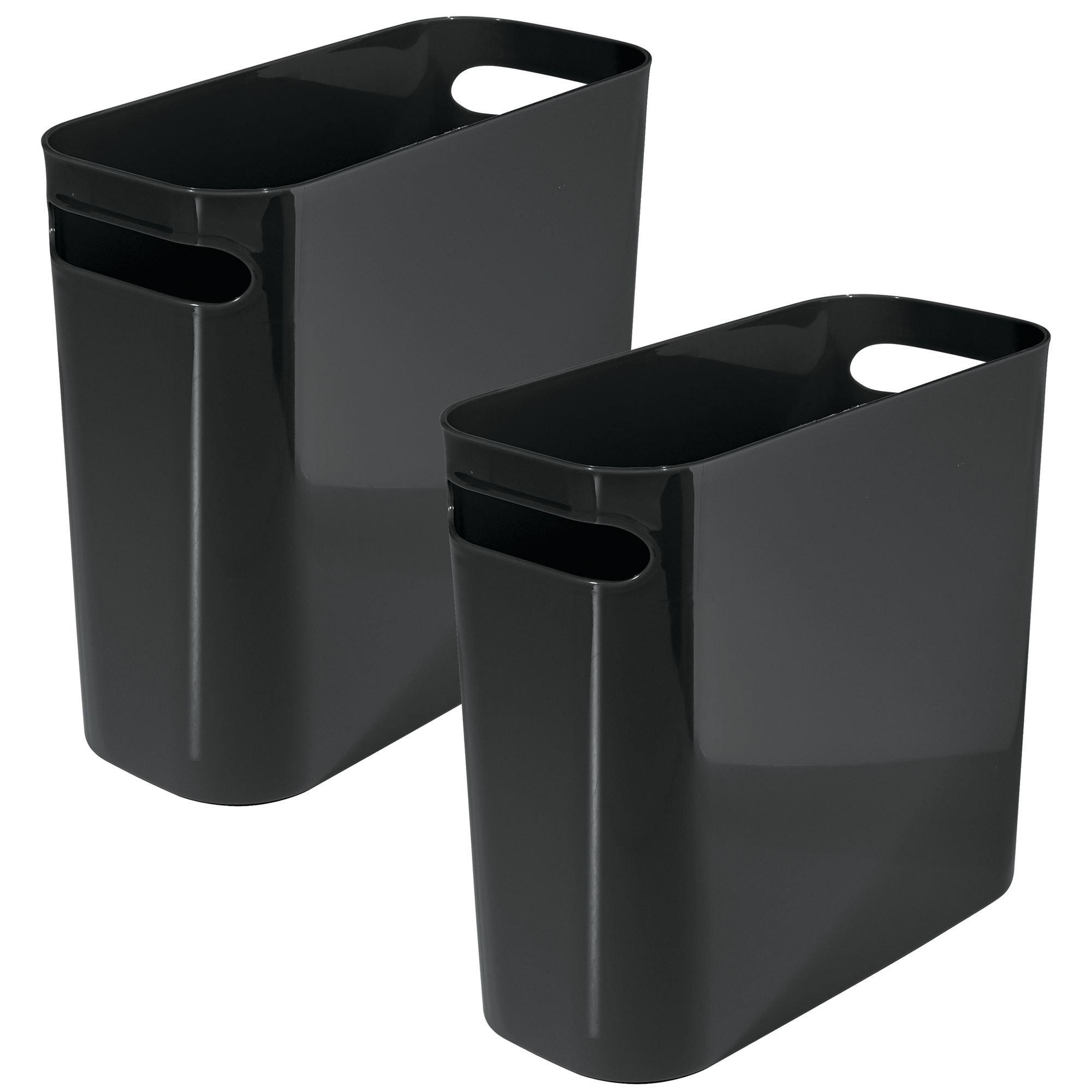 mDesign Slim Plastic Rectangular Small Trash Can Wastebasket, Garbage Container Bin with Handles for Bathroom, Kitchen, Home Office, Dorm, Kids Room - 10'' high, Shatter-Resistant, 2 Pack - Black
