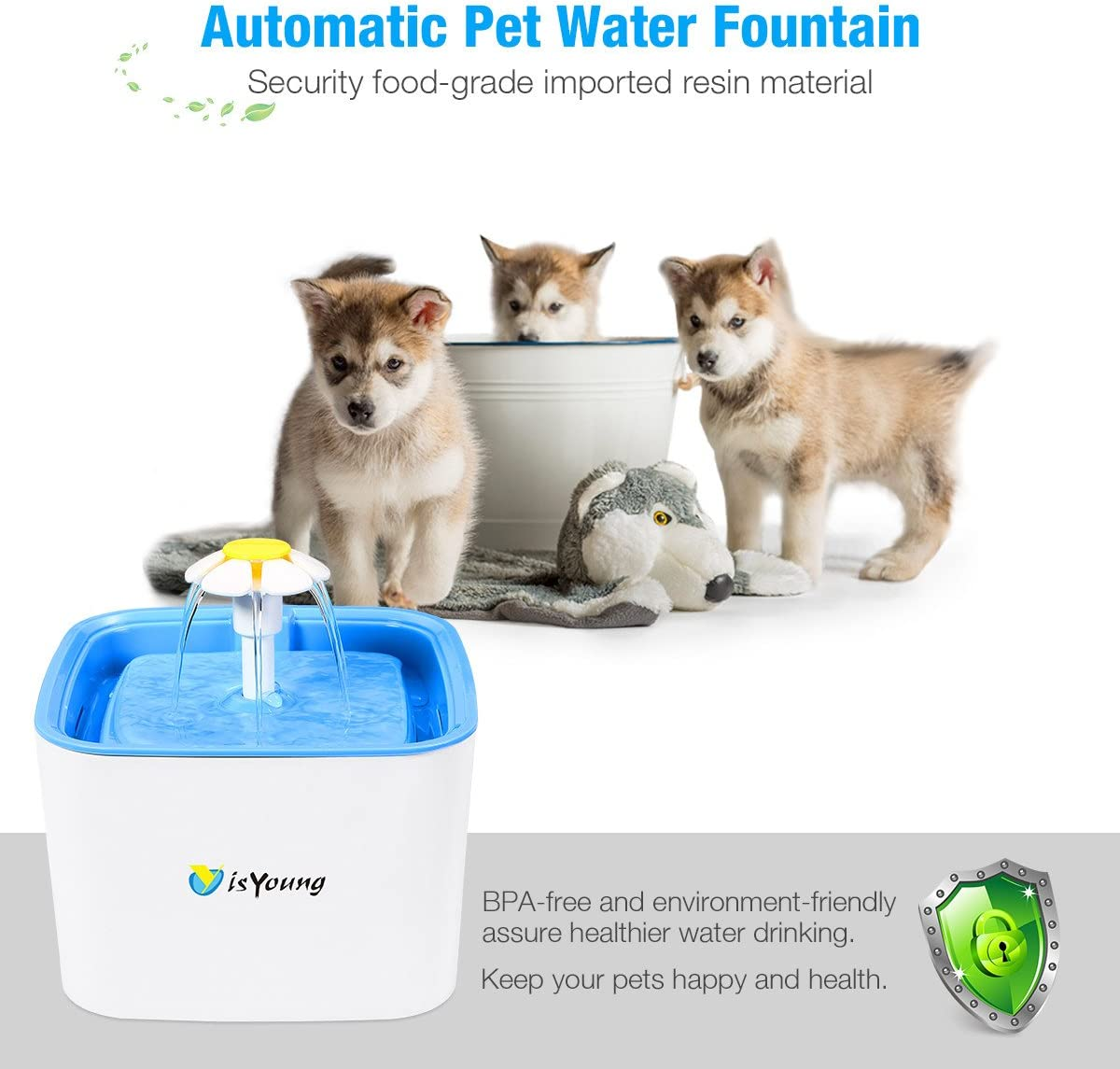 isYoung Pet Water Fountain, 84Oz 2.5L Super Quiet Automatic Electric Water Dispenser, Healthy and Hygienic Cat Drinking Fountain with 2 Replacement Filters for Dogs, Cat and Small Animals