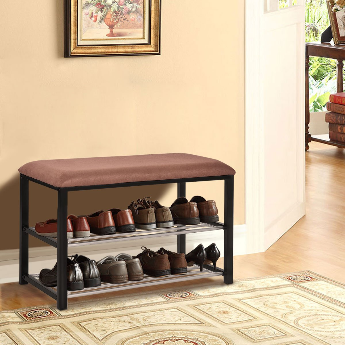 COSTWAY 3 Tier Hallway Bench Shoe Rack Stand Organiser With Upholstered Seat (Brown)