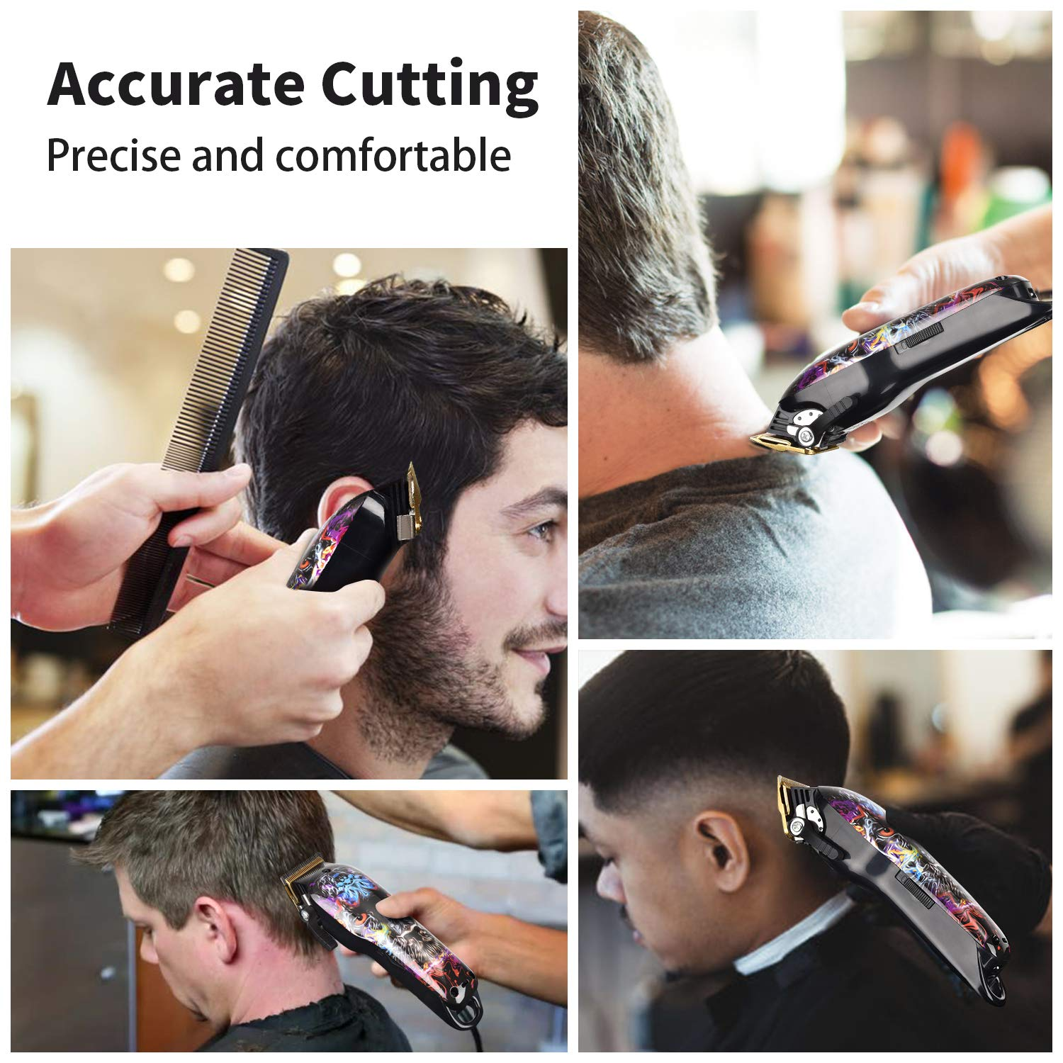 Cordless Hair Trimmer Pro Hair Clippers Beard Trimmer for Men Haircut Kit Cordless USB Rechargeable Barber Electric Shavers Hair Removal with 2000mAh Lithium Ion,Guide Combs (Clipper)