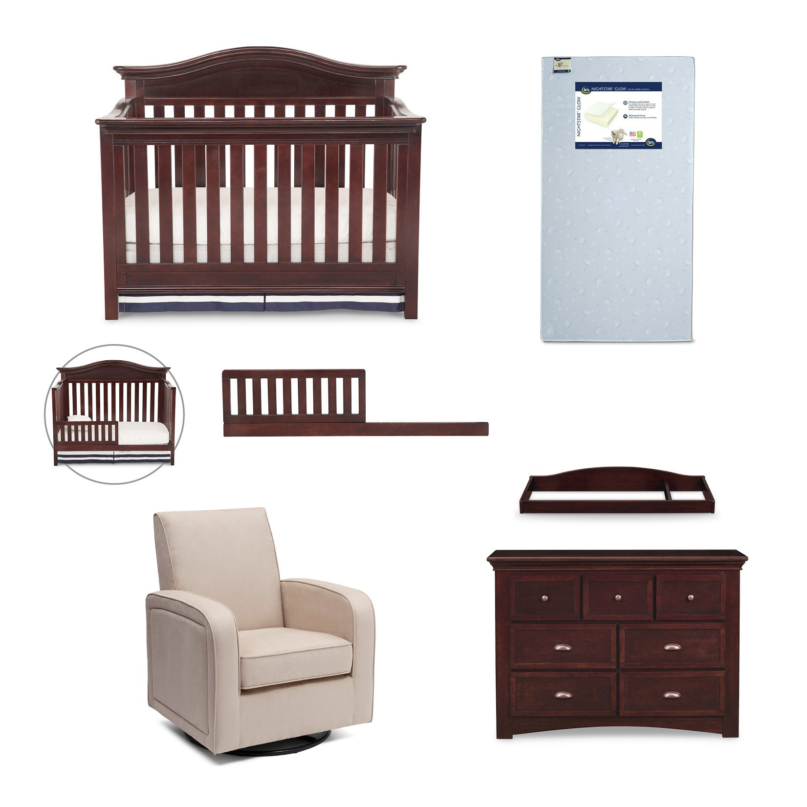 Simmons Kids Augusta 6-Piece Molasses Brown Nursery Furniture Set: Convertible Crib | Daybed/Toddler Guardrail | Dresser | Changing Top | Crib Mattress |Glider