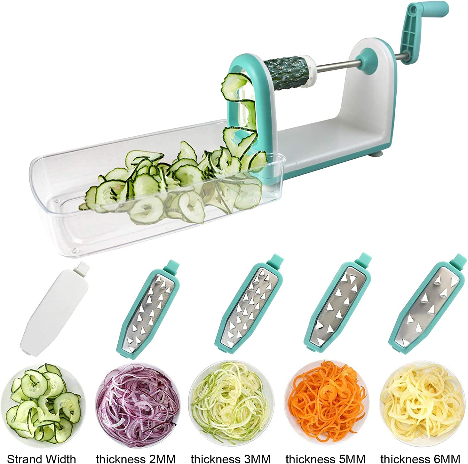 Shareway 5-Blade Spiralizer Perfect for Zucchini Spaghetti Maker/Raw Food/Vegan/Paleo/Gluten-Free/Low-Carb etc with Container and Blade Caddy