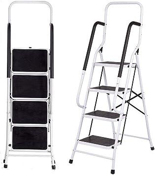 Escalera resistente de 4 peldaños con pasamanos, plegable y ligera, escalera de peldaños con alfombrilla antideslizante, capacidad de 150 kg: Amazon.es: Bricolaje y herramientas