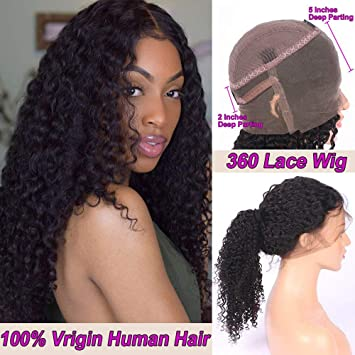 wholesale price pretty nice sale retailer Amazon.com: Deep Curly Human Hair Wigs 360 Lace Frontal Wigs ...