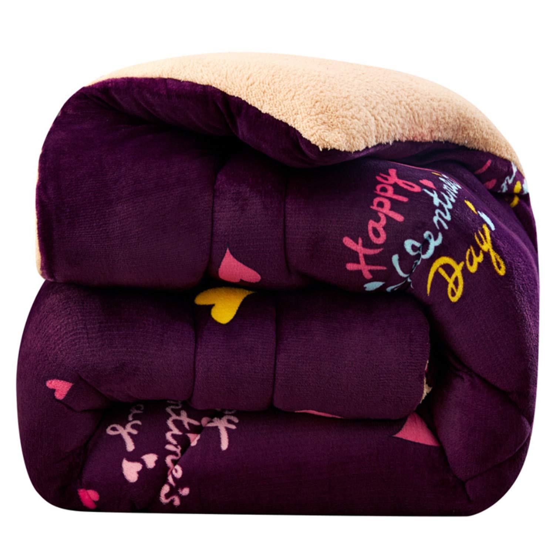 キルトのホーム寝具秋の両面フランネルのラムのカシミアケーシングウォッシャブルホームソフト冬の厚い暖かいポリエステル B07K4GKTRR Purple Large