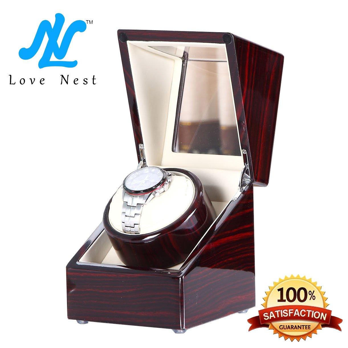 Love Nest Single Watch Winder Piano Finish Pure Handmade with Japanese Mabuchi Motor(Power Included)